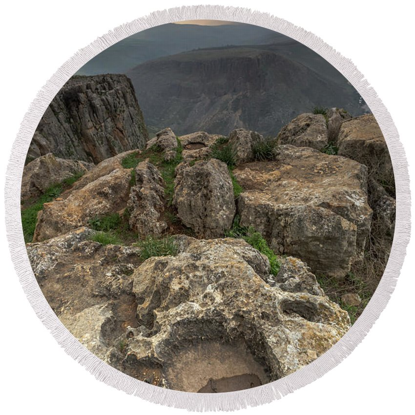 Mountains Round Beach Towel featuring the photograph Mountainous Terrain Of Israel by Yatir Nitzany