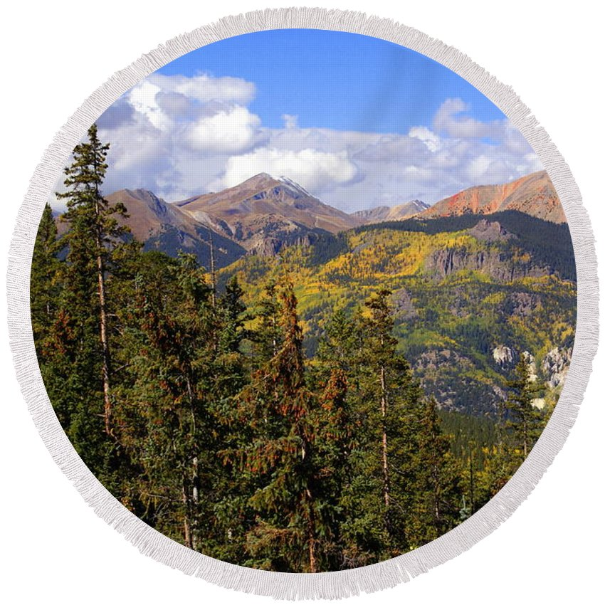 Colorado Round Beach Towel featuring the photograph Mountains Aglow by Marty Koch