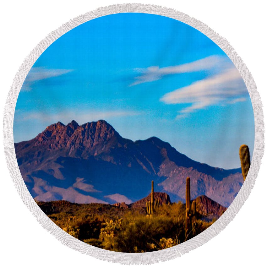 Arizona Round Beach Towel featuring the photograph Mountains And Cactus by Paul LeSage