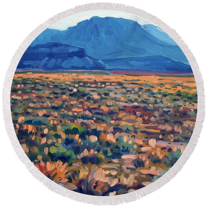 Utah Round Beach Towel featuring the painting Mountains And Mesas by Donald Maier