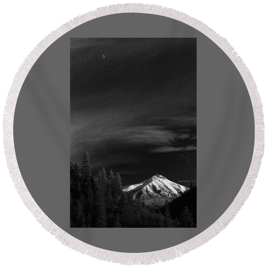 Mountain Round Beach Towel featuring the photograph Mountains And Moons by Samantha Burrow