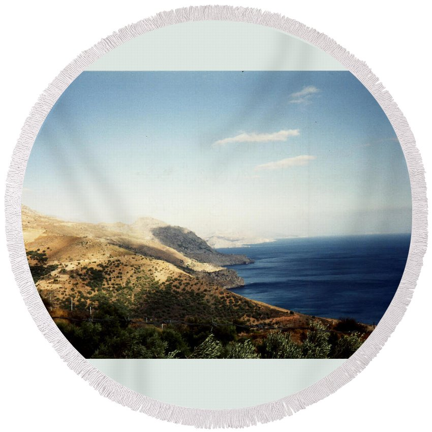 Mountains And Sea Round Beach Towel featuring the photograph Mountains And Sea by Catt Kyriacou