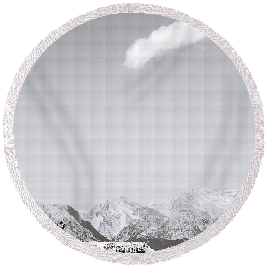Round Beach Towel featuring the photograph Mountains Are The Beginning And The End Of All Natural Scenery. by Alfio Finocchiaro