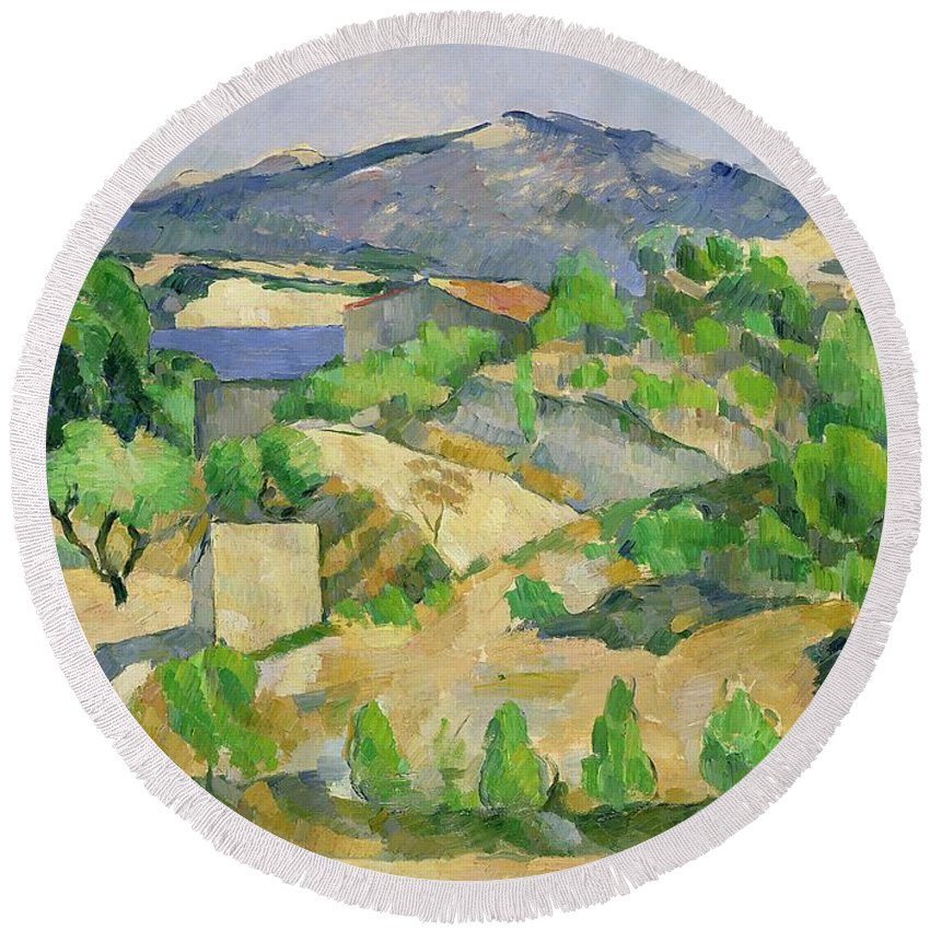 Mountains Round Beach Towel featuring the painting Mountains In Provence by Paul Cezanne
