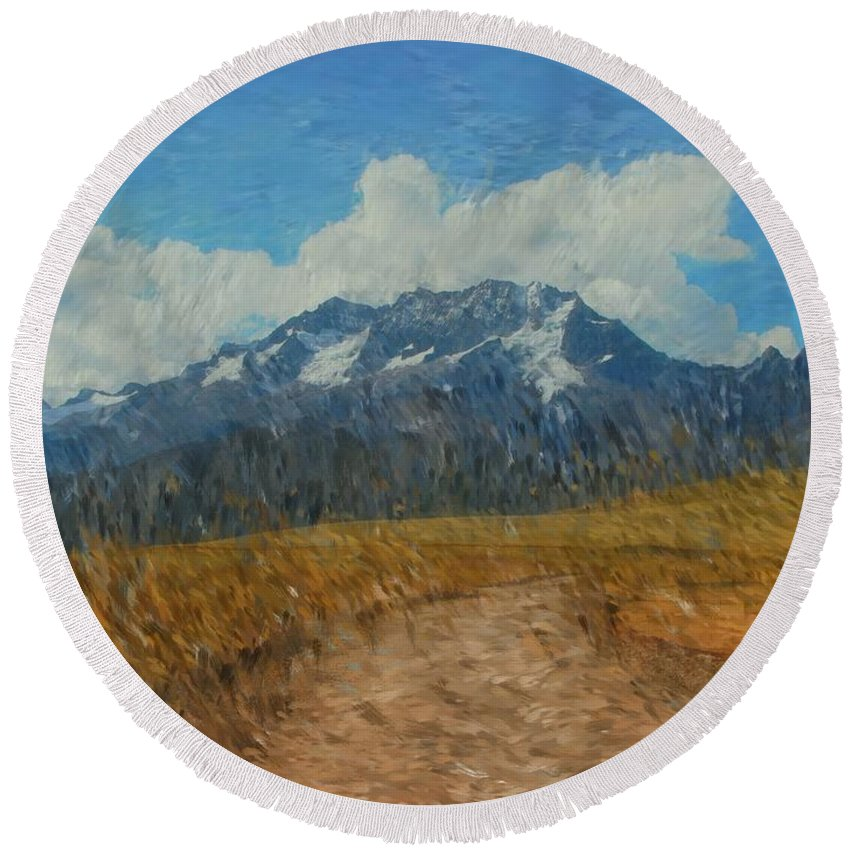 Abstract Digital Painting Round Beach Towel featuring the photograph Mountains In Puru by David Lane