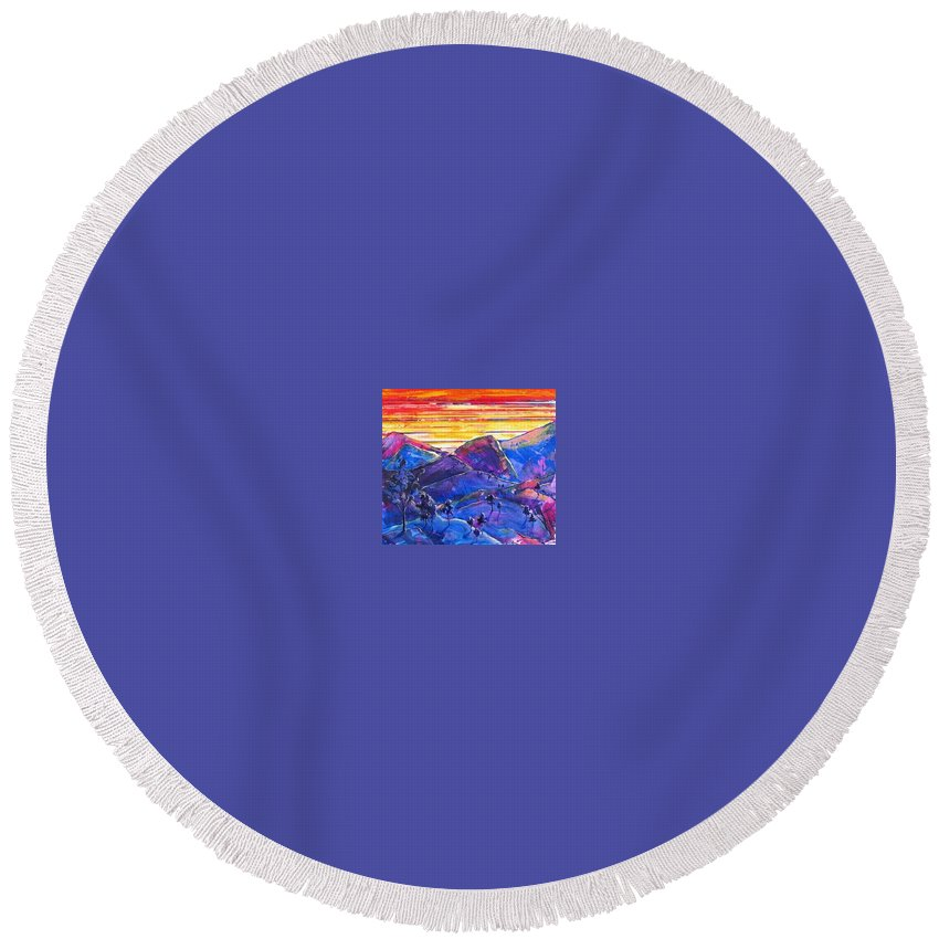 Mountains Round Beach Towel featuring the painting Mountainscape Blue by Rollin Kocsis