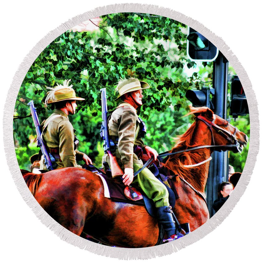 Horses Round Beach Towel featuring the photograph Mounted Infantry by Douglas Barnard