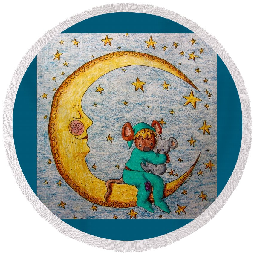 Children's Art Round Beach Towel featuring the drawing Mouse On The Moon by Megan Walsh