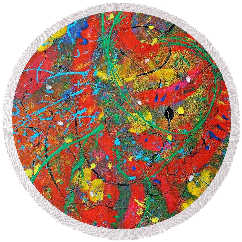 Abstract Round Beach Towel featuring the painting Movement by Chani Demuijlder