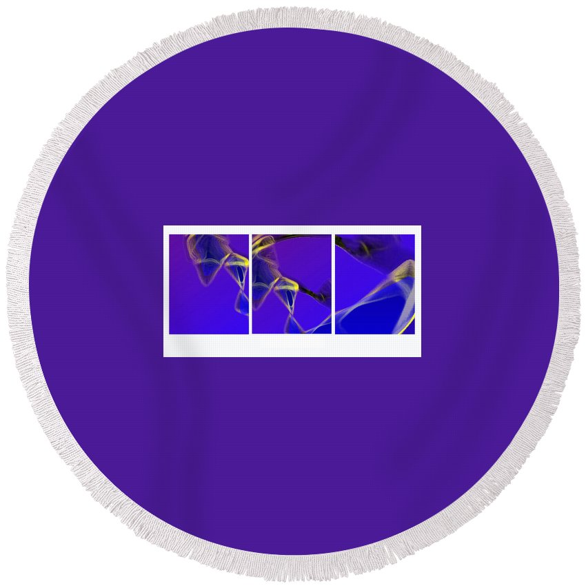 Abstract Round Beach Towel featuring the digital art Movement In Blue by Steve Karol