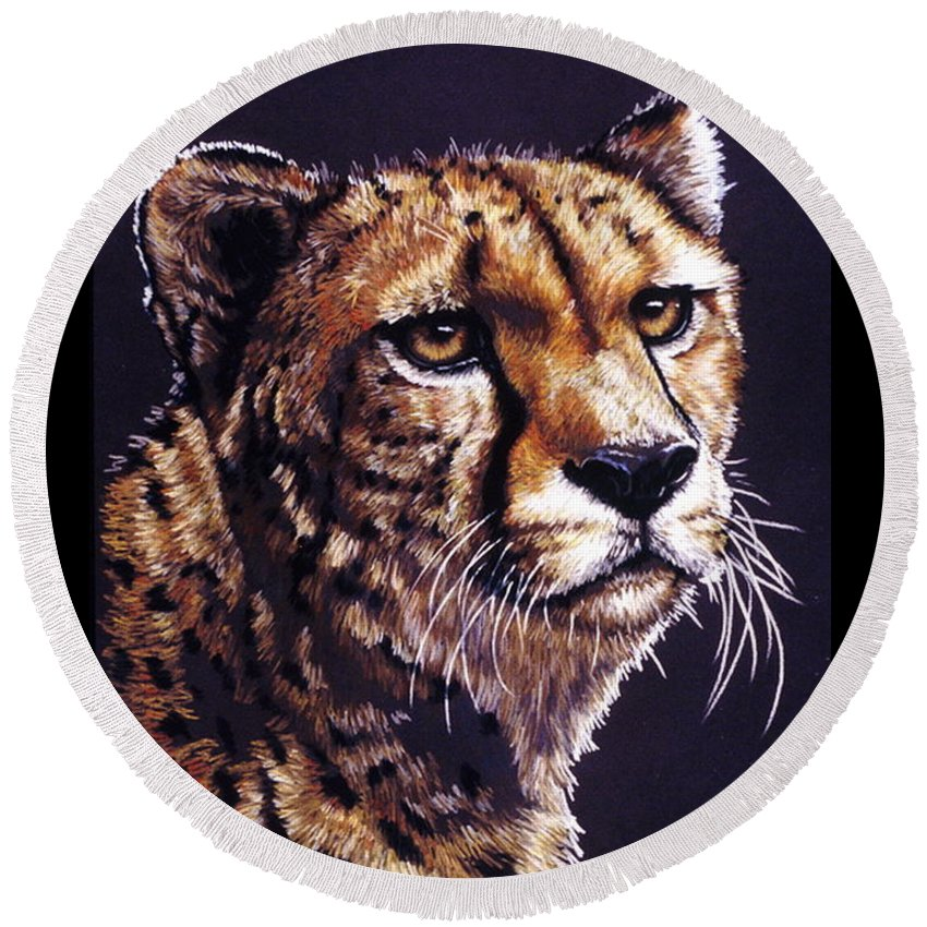 Cheetah Round Beach Towel featuring the drawing Movin On by Barbara Keith