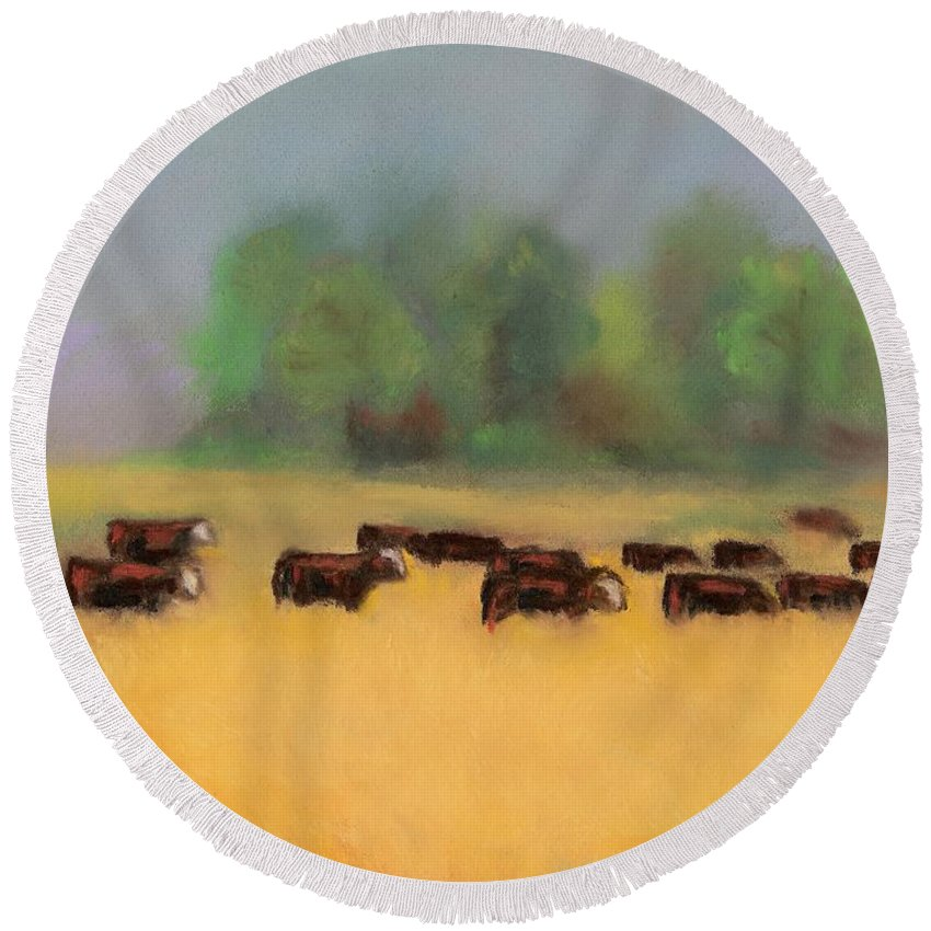 Cattle Round Beach Towel featuring the painting Moving On by Frances Marino