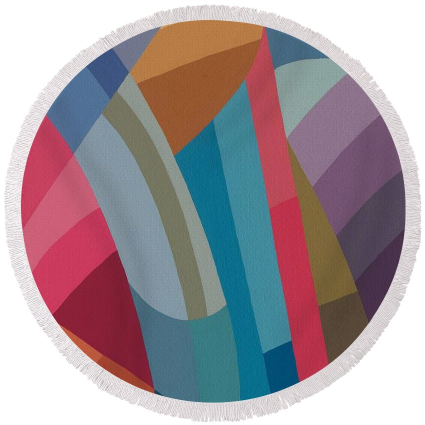 Abstract Round Beach Towel featuring the painting Moving On by Sarah Gillard