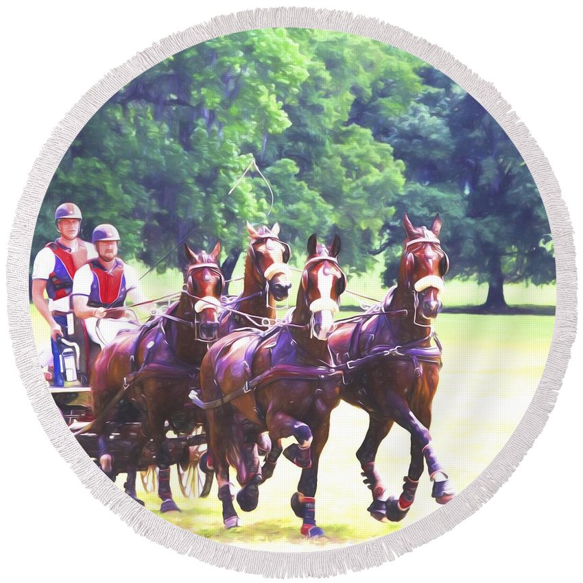 Horses Round Beach Towel featuring the photograph Moving Quickly by Alice Gipson