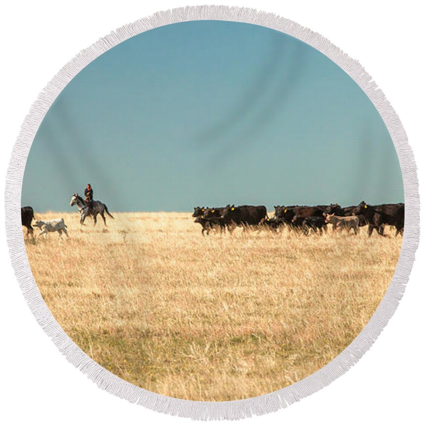 Cowgirl Round Beach Towel featuring the photograph Moving The Herd by Todd Klassy