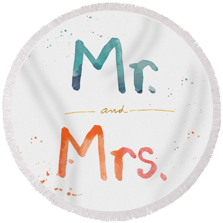 Mr And Mrs Round Beach Towel featuring the painting Mr And Mrs by Linda Woods