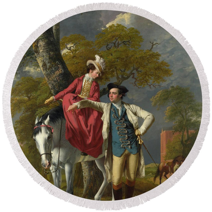 Footwear Round Beach Towel featuring the painting Mr And Mrs Thomas Coltman by Joseph Wright