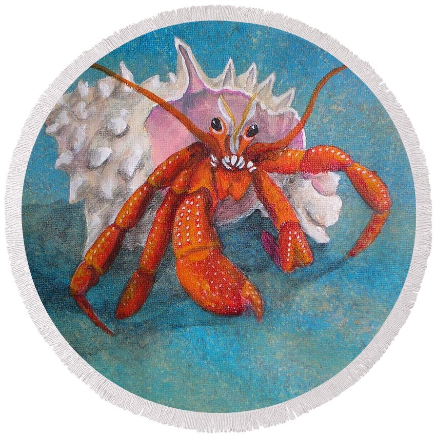 Hermit Round Beach Towel featuring the painting Mr. Crab by Cindy D Chinn