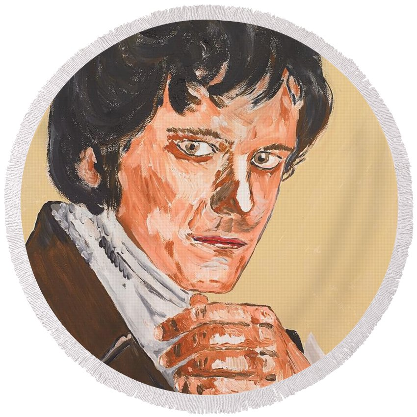 Darcy Round Beach Towel featuring the painting Mr. Darcy by Valerie Ornstein