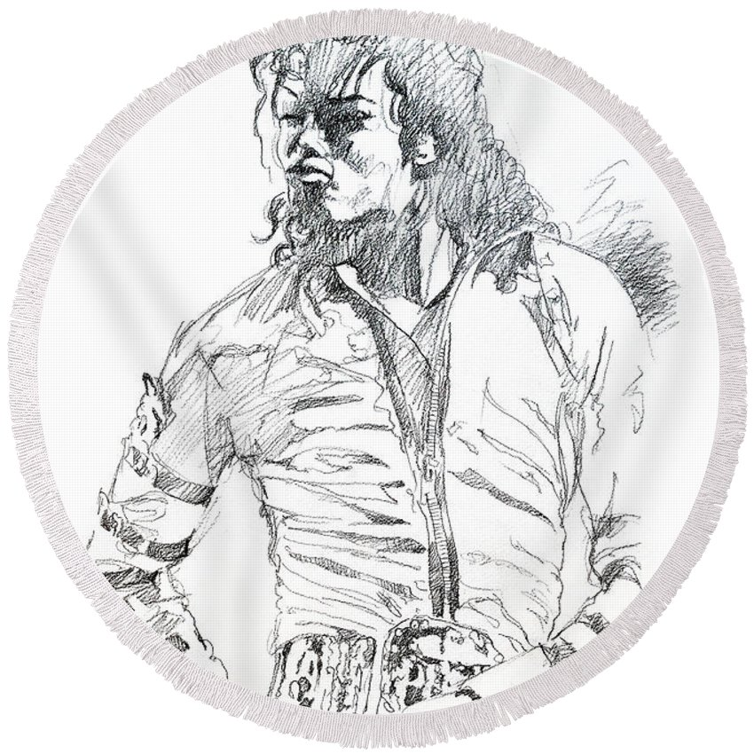 Michael Jackson Round Beach Towel featuring the drawing Mr. Jackson by David Lloyd Glover