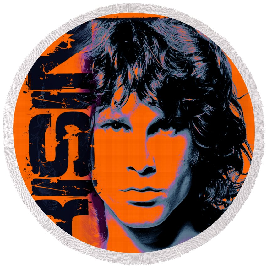 The Doors Round Beach Towel featuring the digital art Mr Mojo Risin by Mal Bray