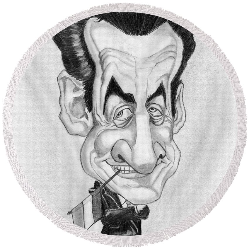 Mr Nicolas Sarkozi Round Beach Towel featuring the drawing Mr Nicolas Sarkozi Caricatur Portrait by Alban Dizdari