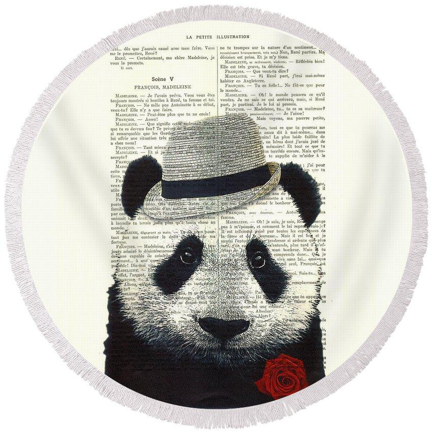 Panda Round Beach Towel featuring the digital art Panda With Fedora Hat En Red Rose by Madame Memento