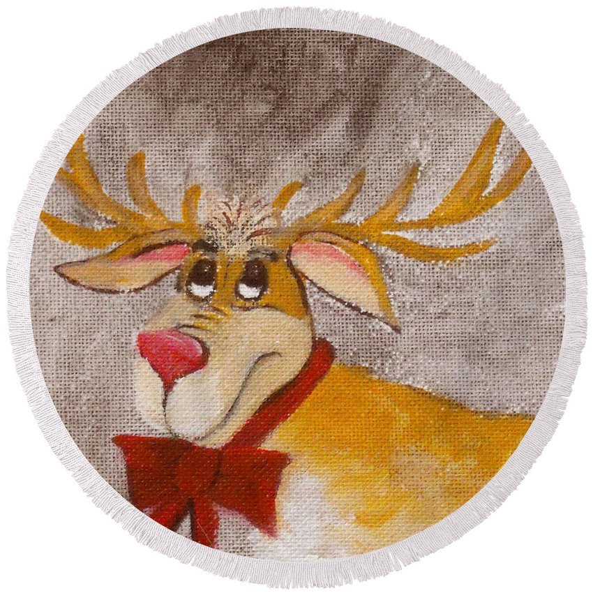 Animals Round Beach Towel featuring the painting Mr Reindeer by Ruth Palmer