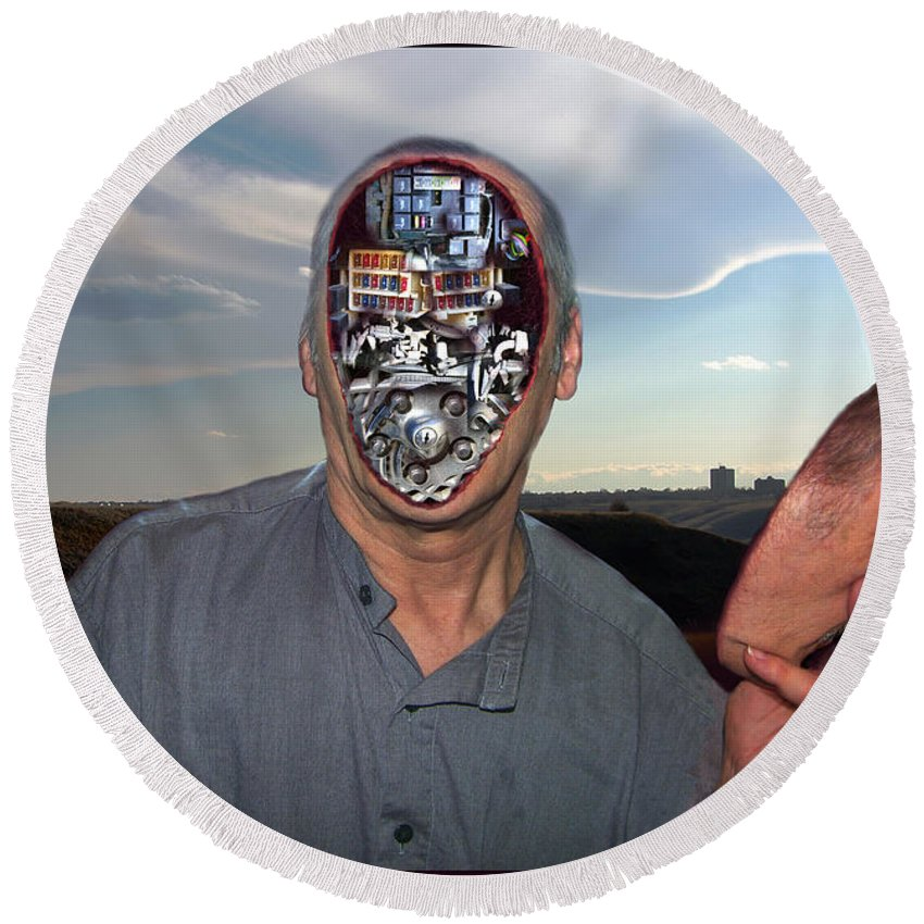 Surrealism Round Beach Towel featuring the digital art Mr. Robot-otto by Otto Rapp