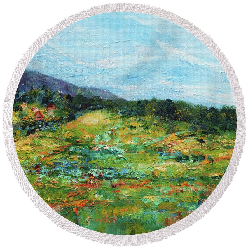 Mountains Round Beach Towel featuring the painting Mrkovici Village 201807 by Alyse Radenovic