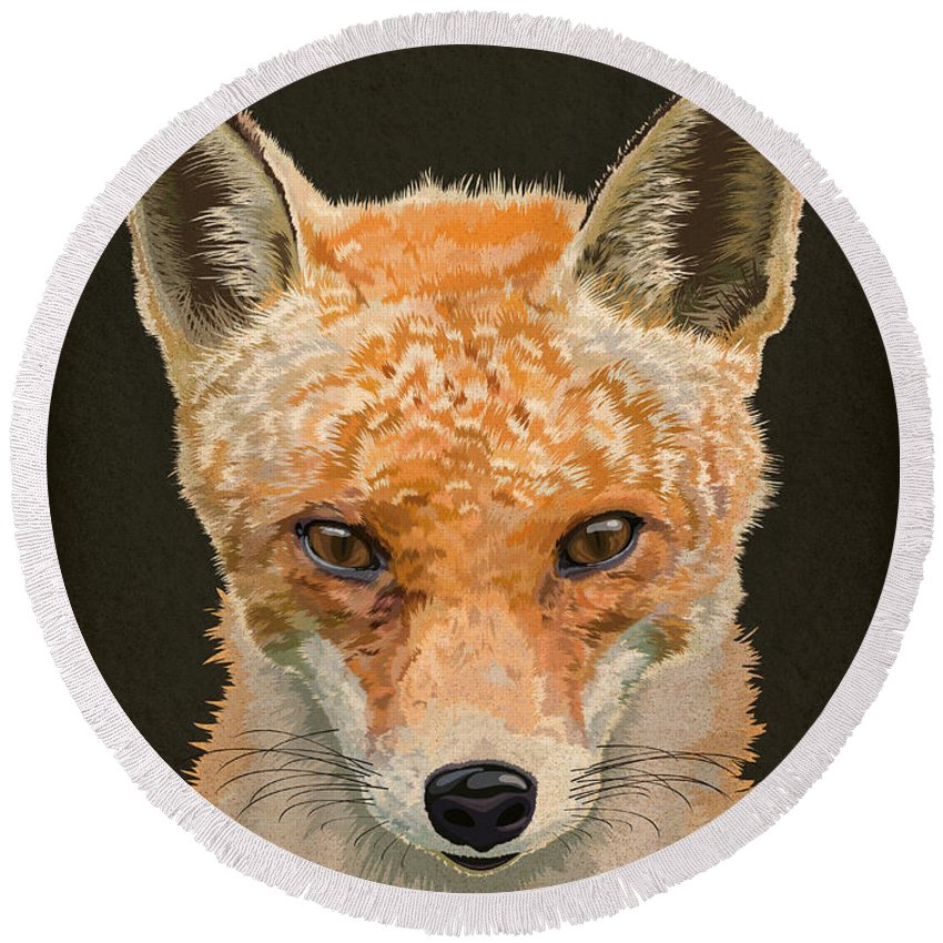 Portrait Round Beach Towel featuring the digital art Mrs. Foxy by Carl Conway