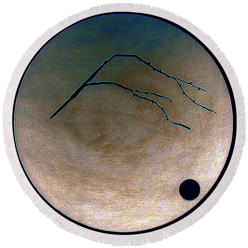 Kanji.japan.japanese.chaban.ikebana. Round Beach Towel featuring the painting Mt Fuji Moon by Gordon Lavender