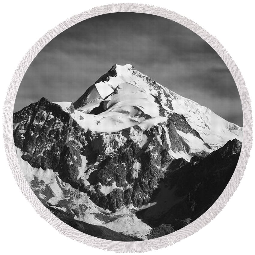 Bolivia Round Beach Towel featuring the photograph Mt Huayna Potosi In Monochrome by James Brunker
