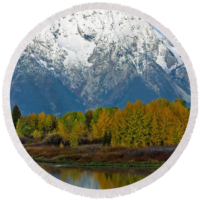 Mt Round Beach Towel featuring the photograph Mt Moran From Ox Bow Bend by Gary Langley