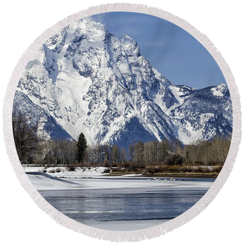 Mt Moran Round Beach Towel featuring the photograph Mt Moran From Oxbow Bend by Belinda Greb