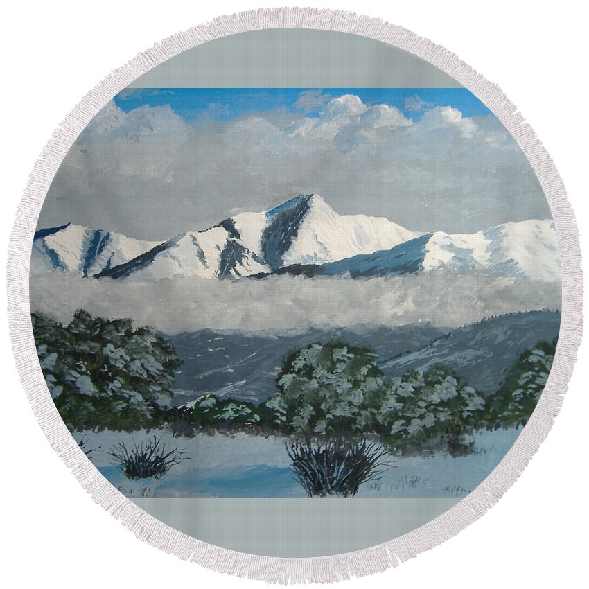 Colorado Round Beach Towel featuring the painting Mt Princeton Co by Norm Starks