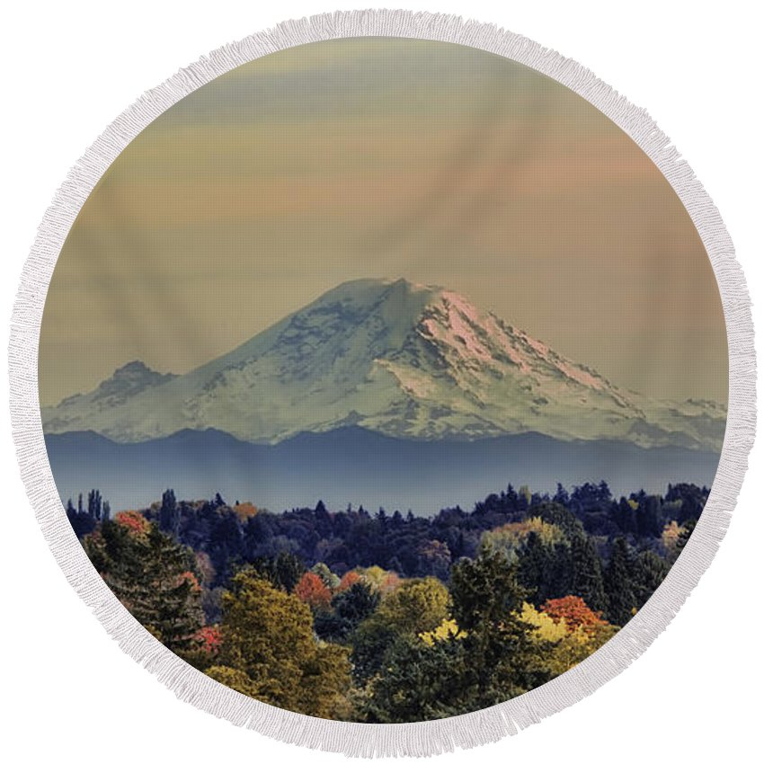 Panoramic Round Beach Towel featuring the photograph Mt Rainer Fall Color Rising by James Heckt