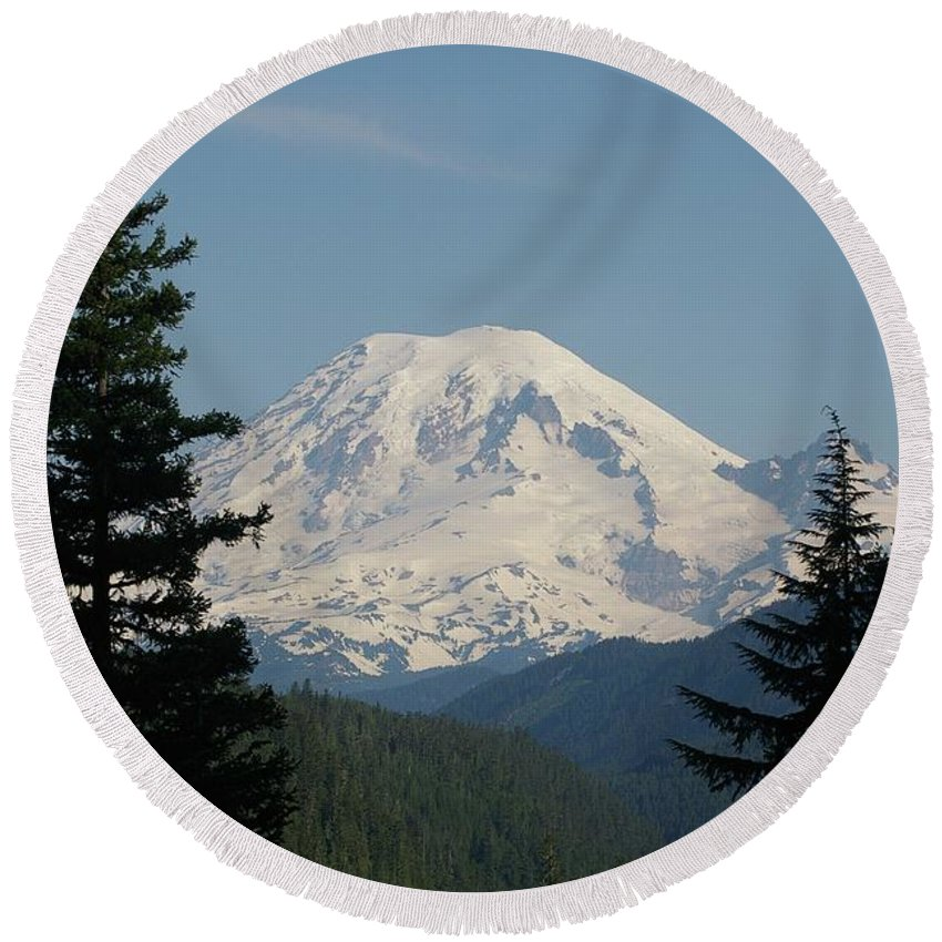 Mt Rainer Round Beach Towel featuring the photograph Mt Rainer From The Hills In Packwood Wa by Jeff Swan