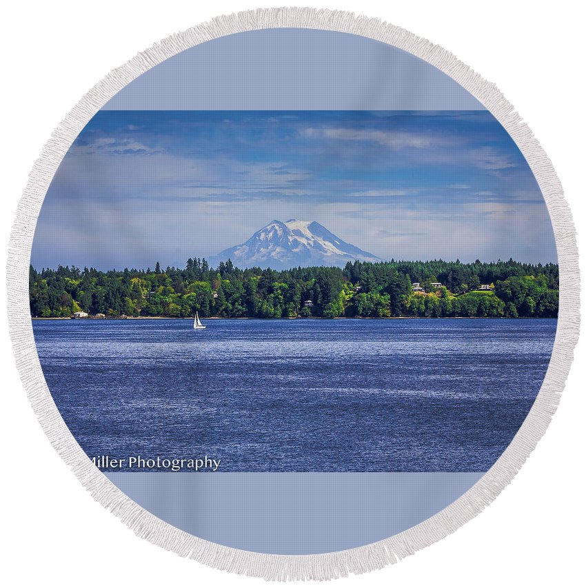 Mountain Round Beach Towel featuring the photograph Mt Rainier Blues by Penny Miller