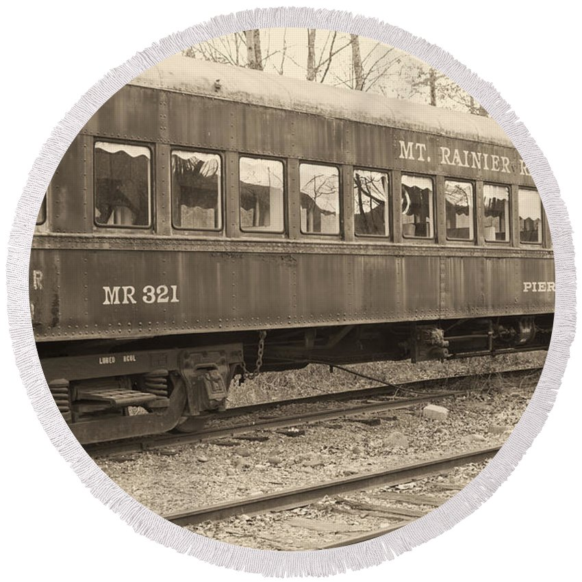 Round Beach Towel featuring the photograph Mt. Rainier Dining Car by Cathy Anderson