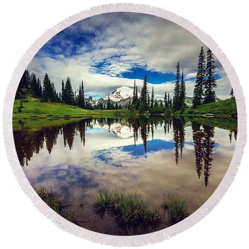 Mountain Round Beach Towel featuring the photograph Mt Rainier Reflections by Joan McCool