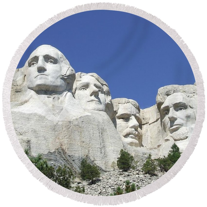 International Round Beach Towel featuring the digital art Mt. Rushmore by Frederick Holiday