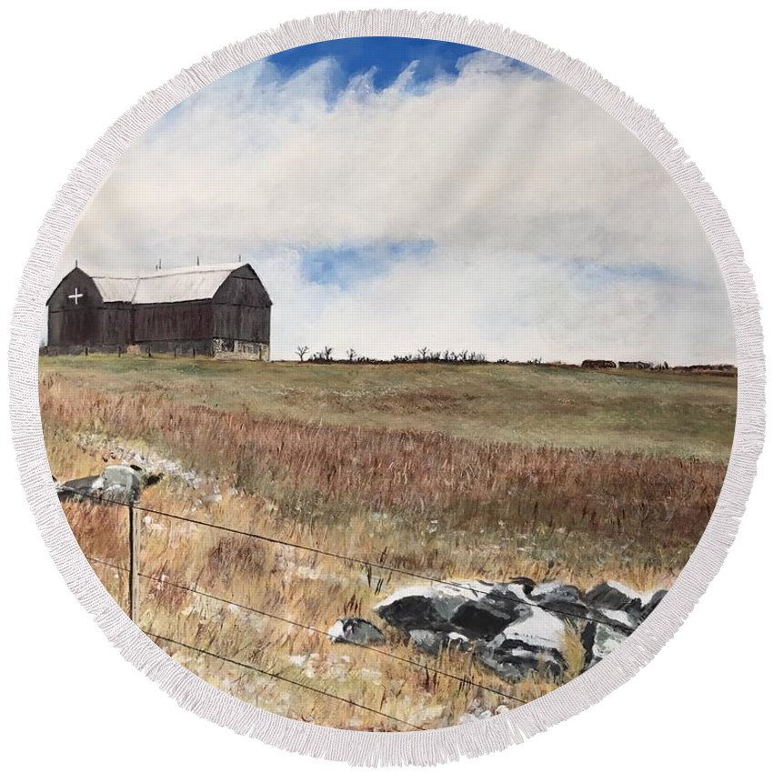 Landscape Round Beach Towel featuring the painting Mt Savior Barn by Joel Charles