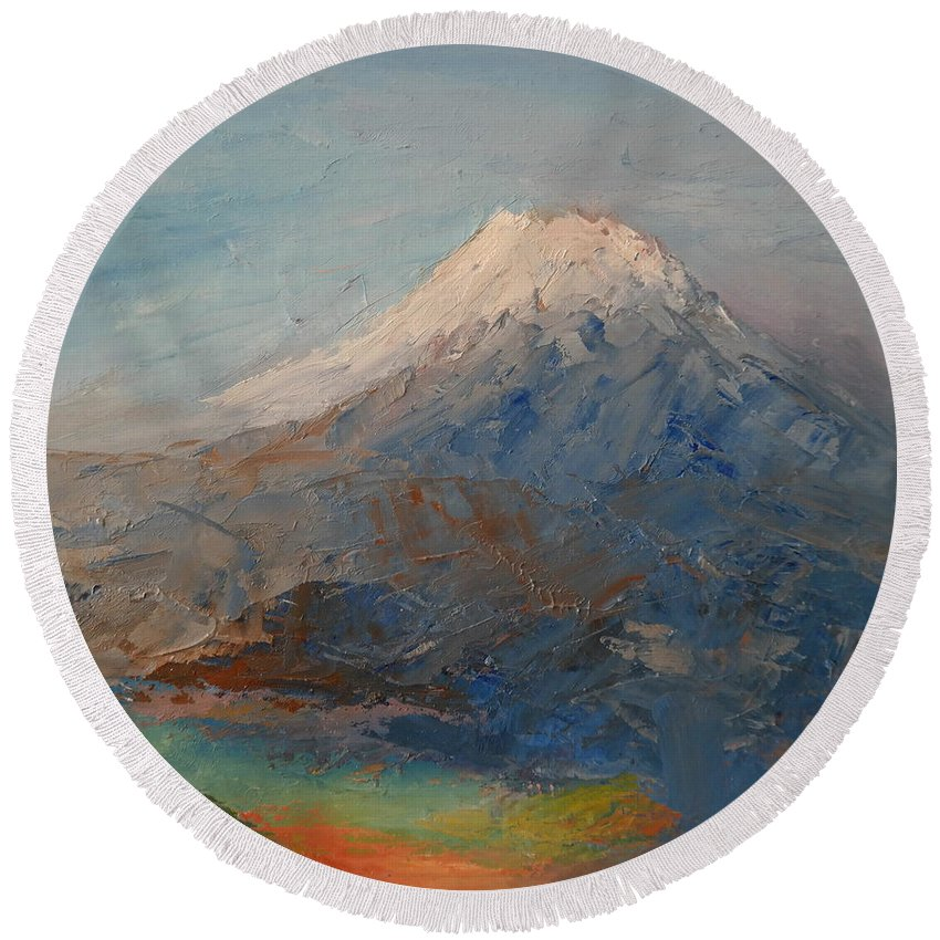 Landscape Round Beach Towel featuring the painting Mt Shasta 23 by Pusita Gibbs