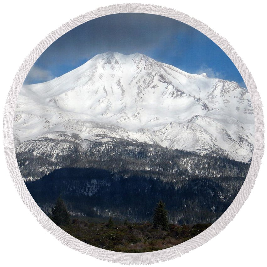 Mt. Shasta Round Beach Towel featuring the photograph Mt. Shasta Photograph by Kimberly Walker