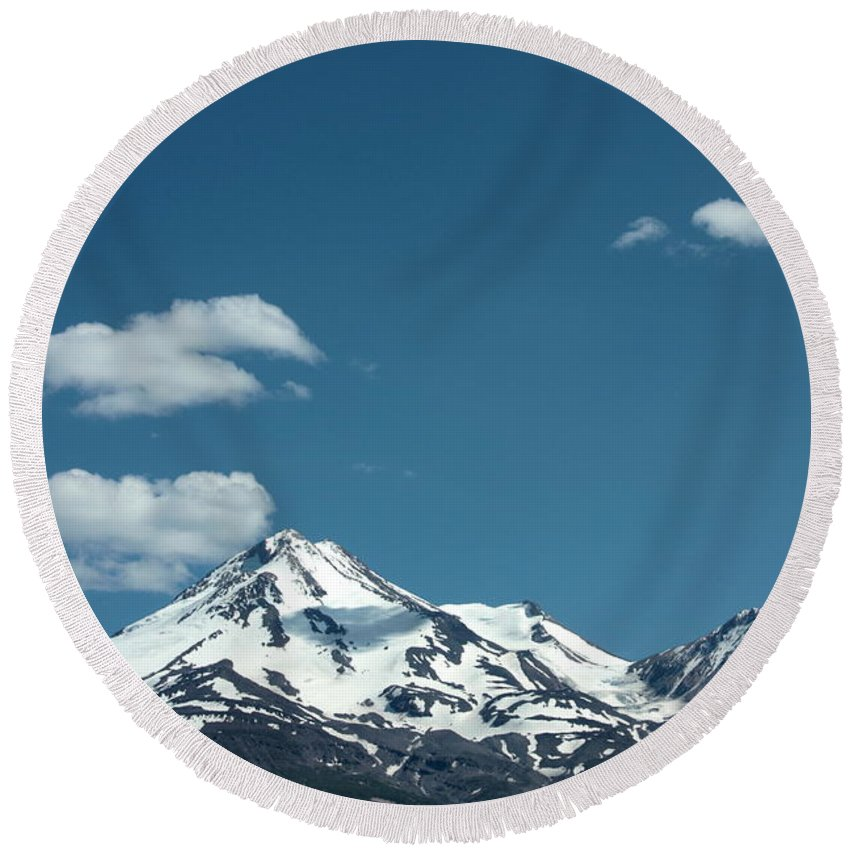Cloud Round Beach Towel featuring the photograph Mt Shasta With Heart-shaped Cloud by Carol Groenen