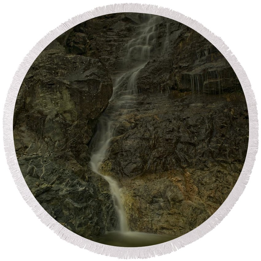 Mountain Round Beach Towel featuring the photograph Mt St Benidict Waterfall by Rod Wiens