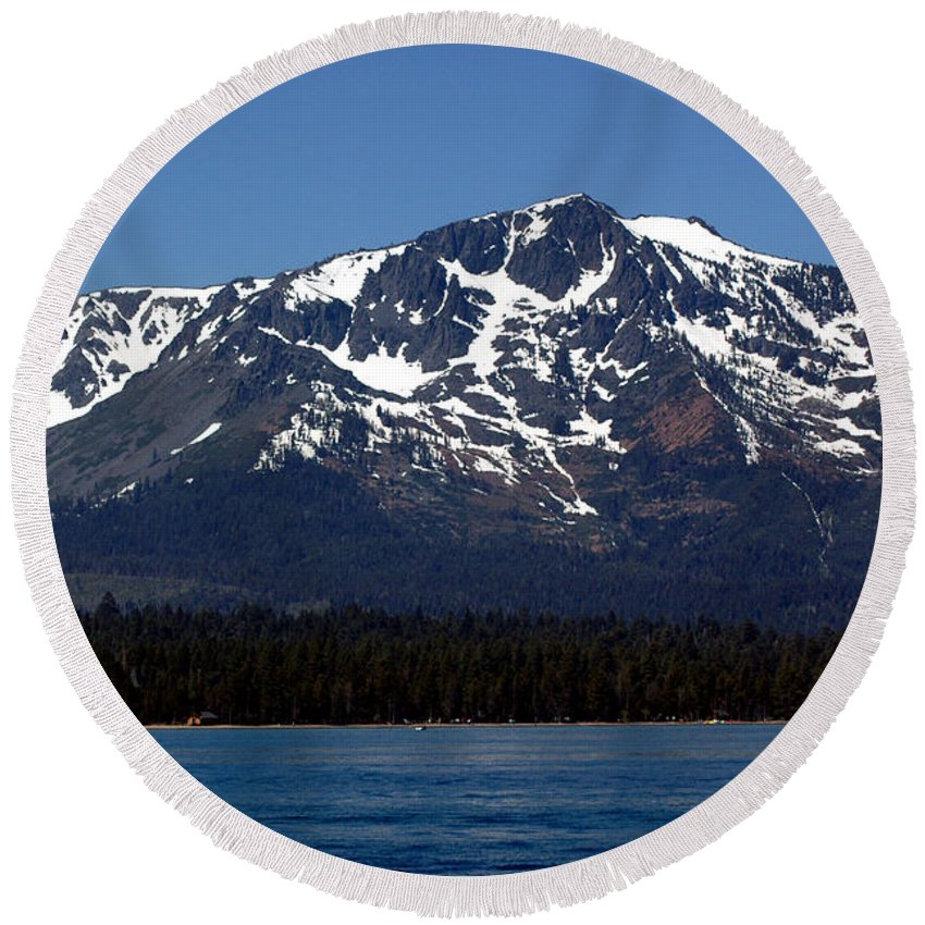 Usa Round Beach Towel featuring the photograph Mt Tallac by LeeAnn McLaneGoetz McLaneGoetzStudioLLCcom