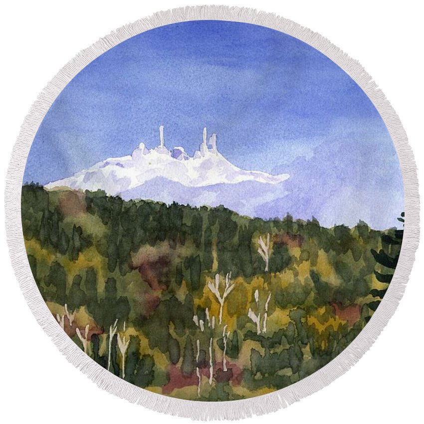Landscape Round Beach Towel featuring the painting Almost Mystical by Sharon E Allen