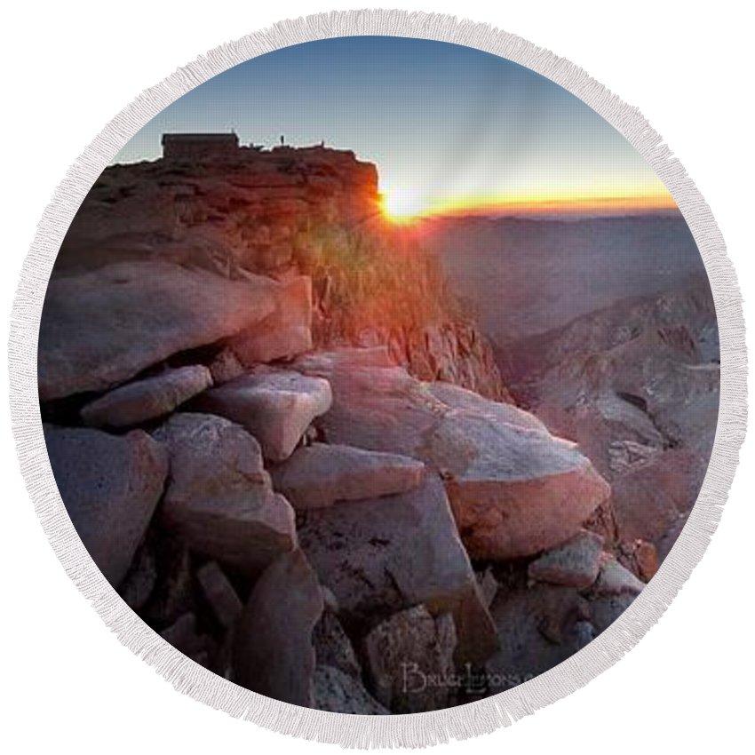 Sierra Round Beach Towel featuring the photograph Mt Whitney And Pinnacles Sunrise - John Muir Trail by Bruce Lemons